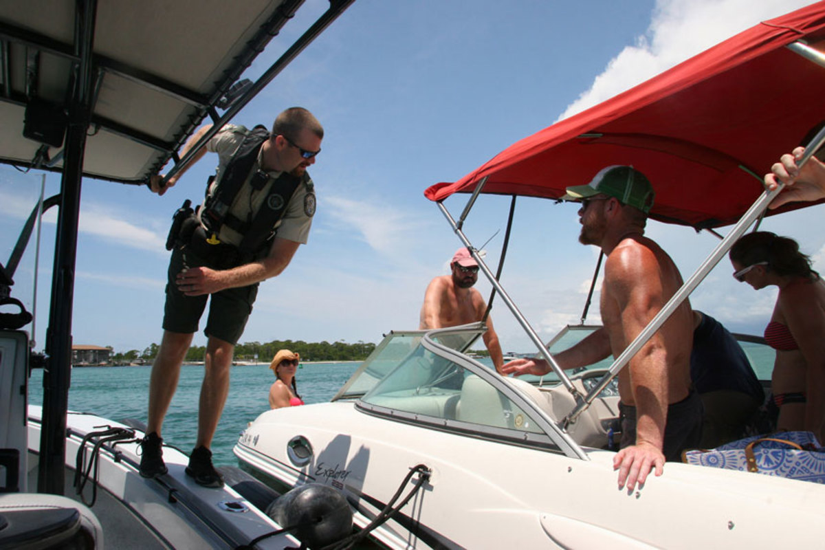 A boating safety check by the Florida Fish and Wildlife Conservation Commission.