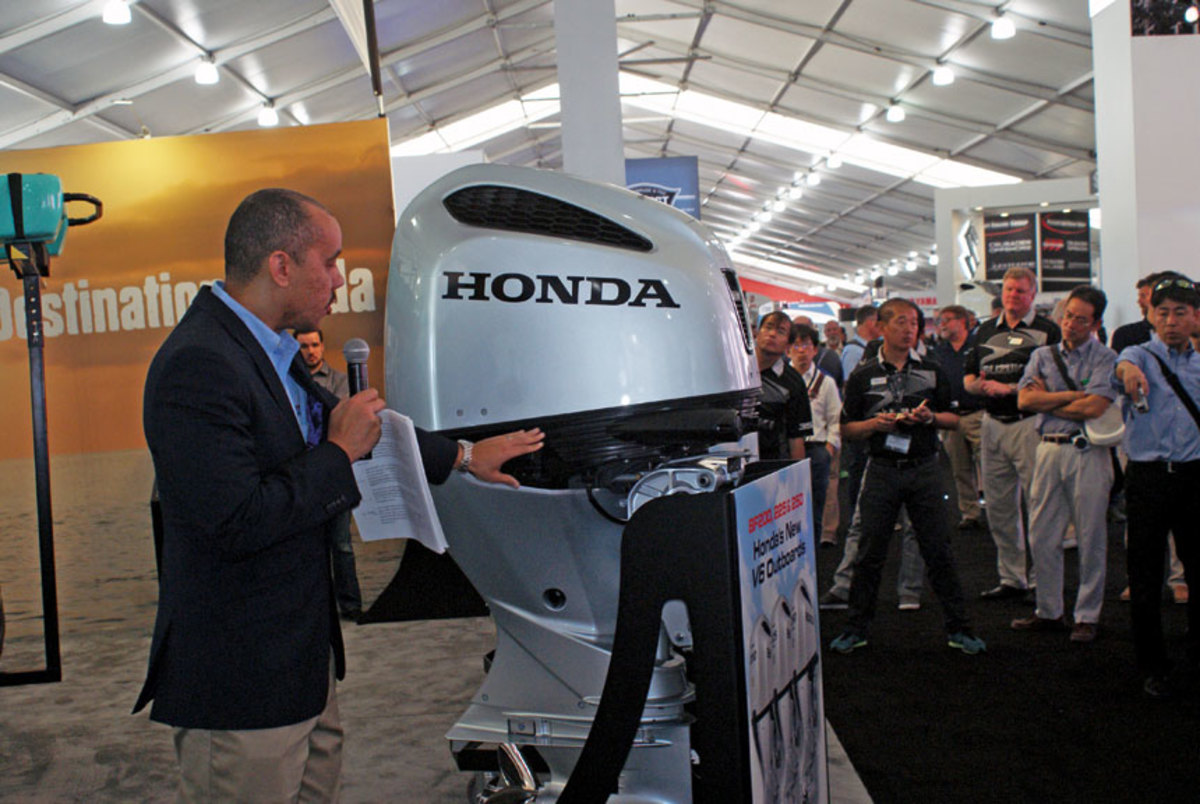 Walton introduces Honda's new 3.6-liter V-6 at the Miami International Boat Show.