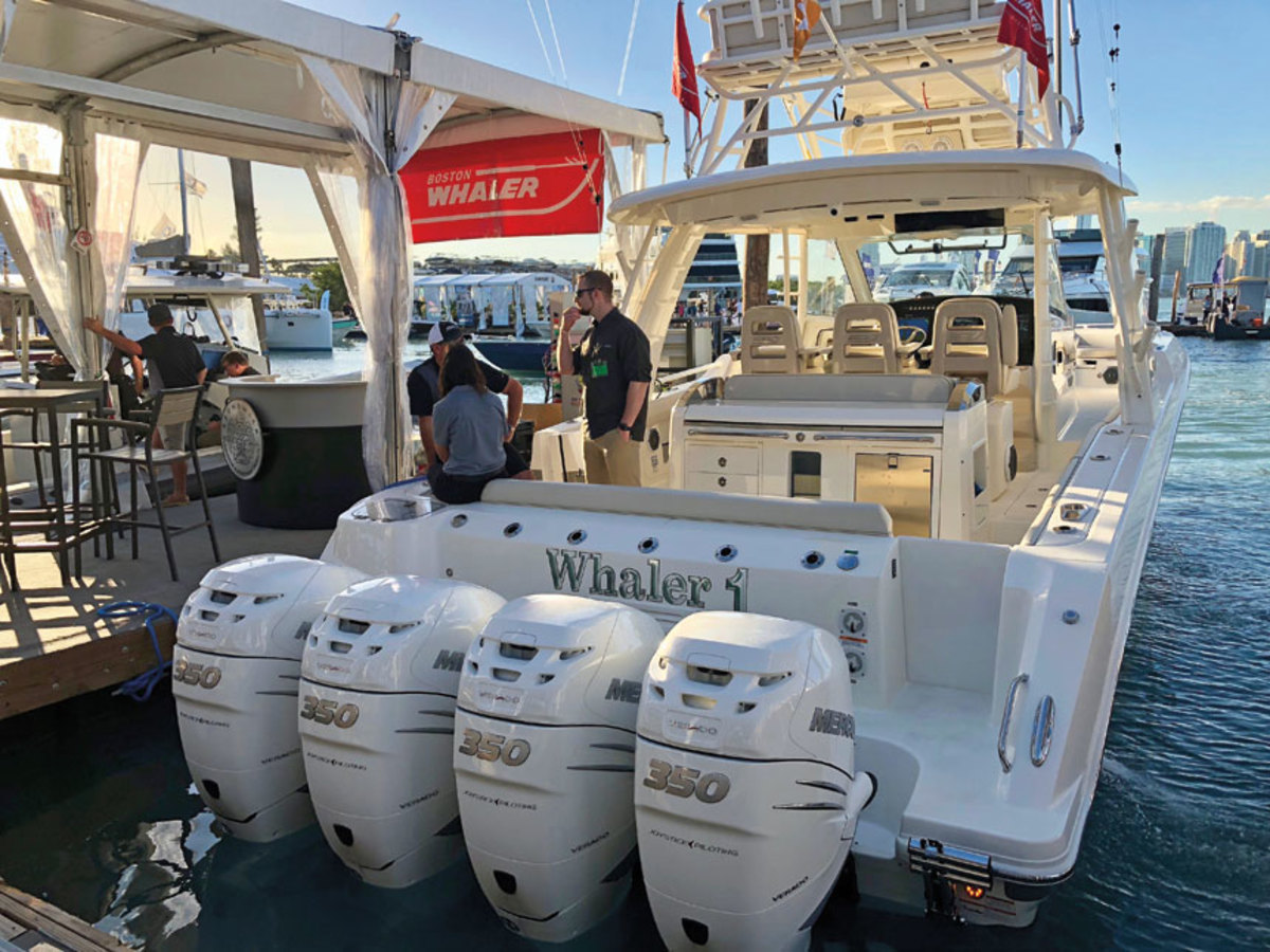 Boats with four large outboards are becoming more prevalent.