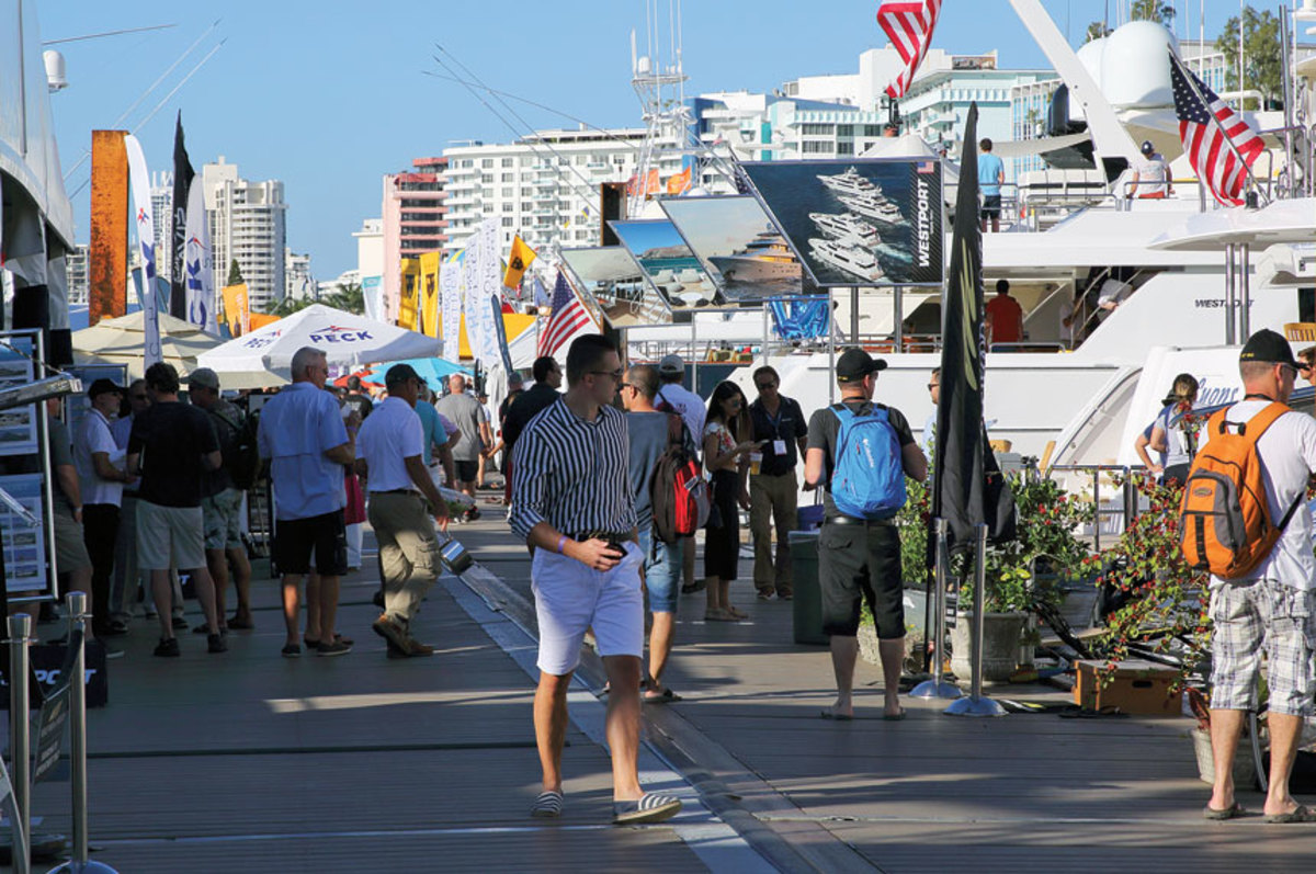 Crowds were steady at the yacht show and exhibitors said there were serious buyers.