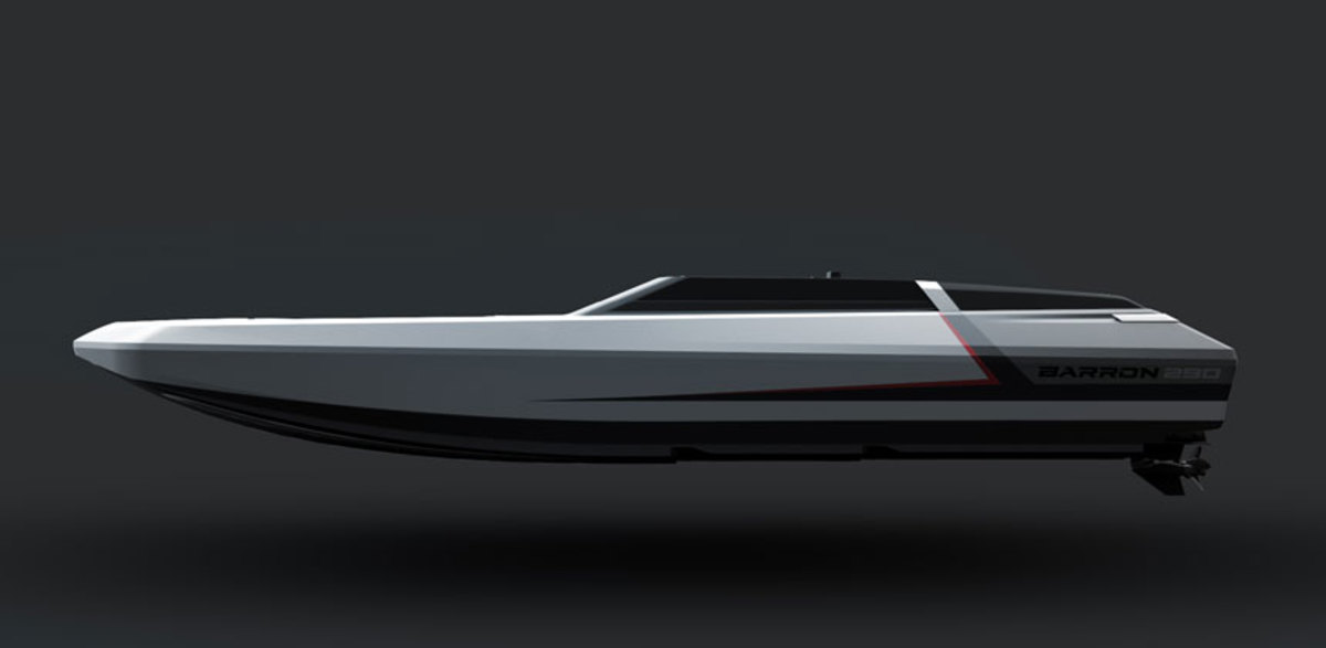 The new Barron 290 will be a performance deck boat with plenty of passenger space in the cockpit and a low-profile deck design.