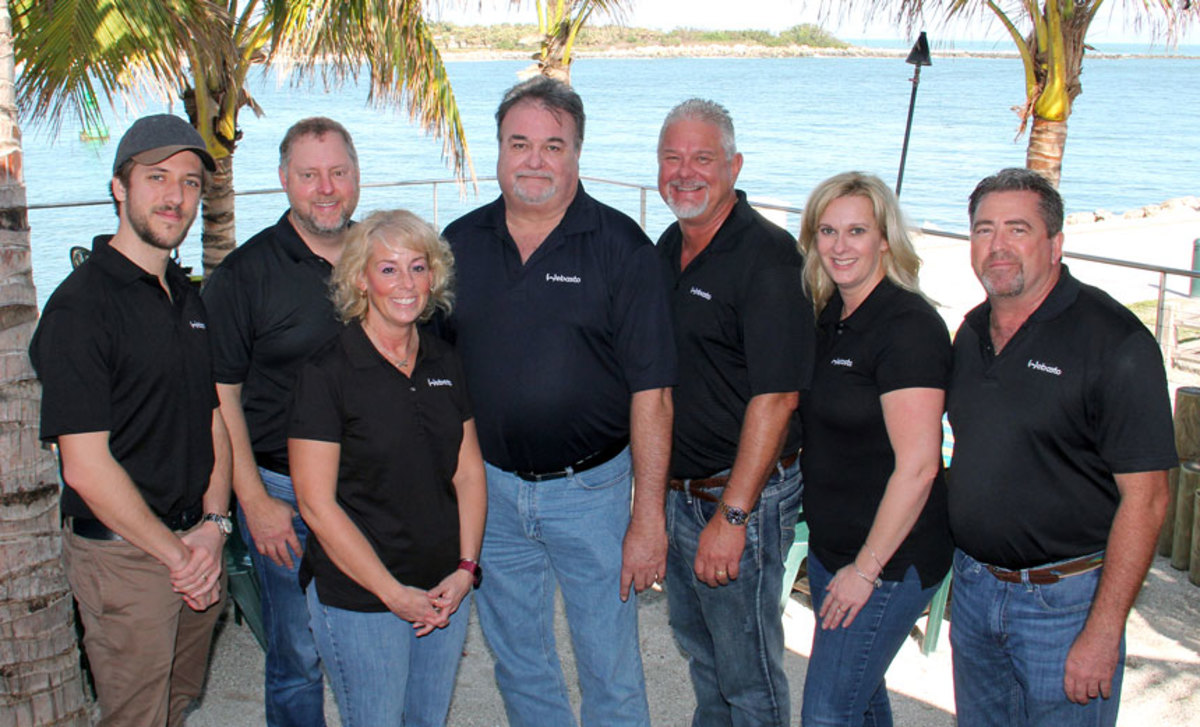 David Wollard, senior director of leisure markets (center) and his team at Webasto's new Stuart, Fla., facility.
