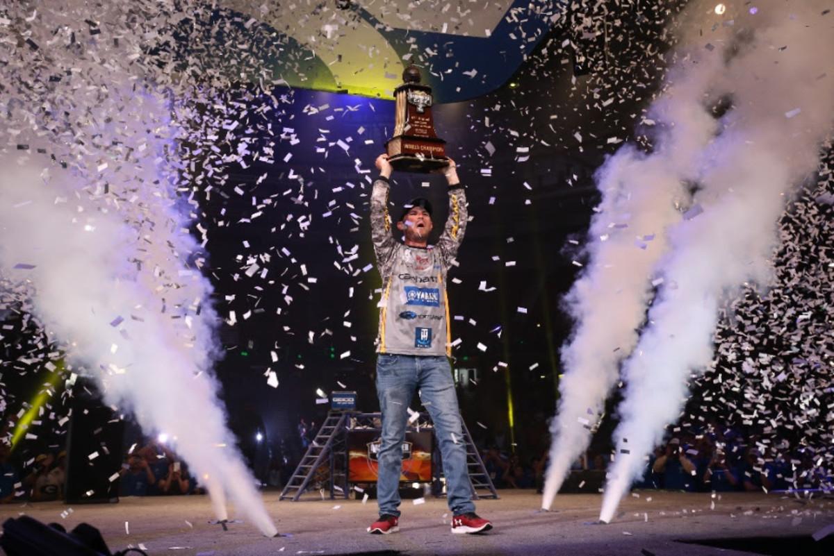 Jordan Lee celebrates his second consecutive Bassmaster Classic win