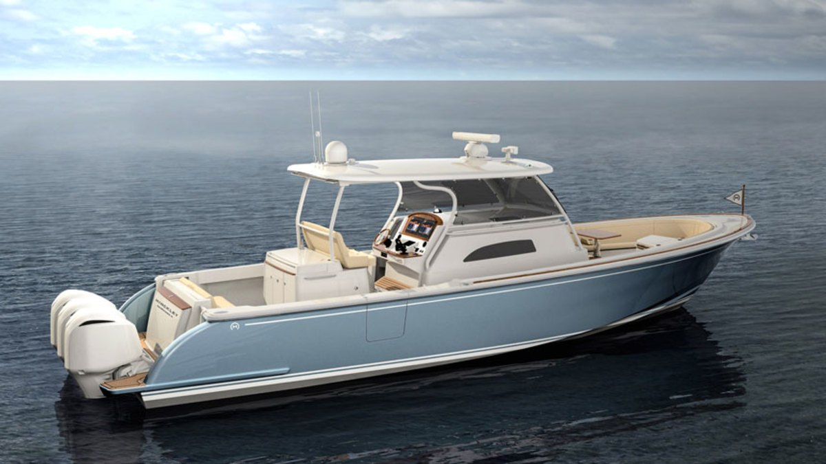 The new outboard-powered Hinckley is 40 feet long and has an estimated top speed of more than 60 mph.