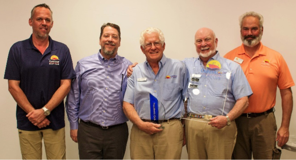 Company officers with 2018 President's Club recipients. (L to R) Carefree COO Kevin Bonnema; CEO Doug Zimmerman; Chris Ragland and Leo Smith, Carefree Club owners in Savannah, Ga.; and Frank Fahringer.