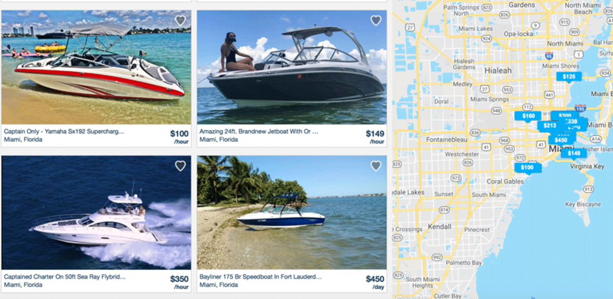 GetMyBoat has listings for a variety of different boats available for rental.