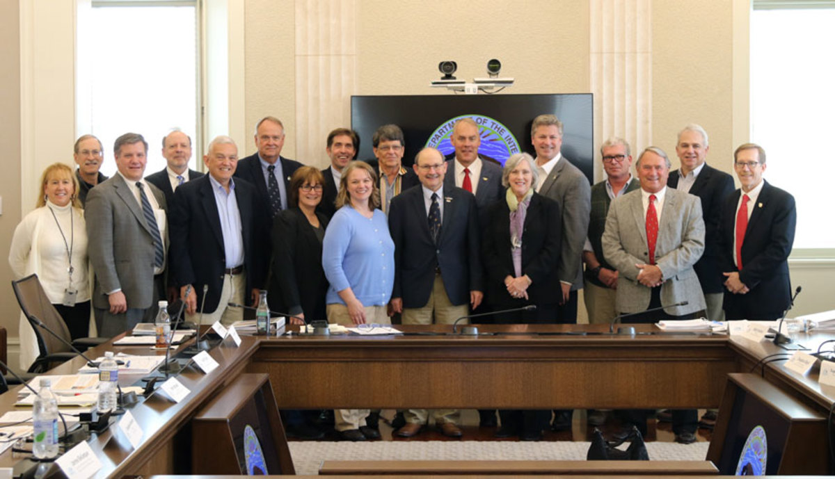 U.S. Department of Interior Secretary Ryan Zinke (seventh from the right) with Sport Fishing and Boating Partnership Council members, including BoatUS vice president of government affairs Chris Edmonston (fifth from the right) Credit: Faith Vander Voort, Department of Interior.