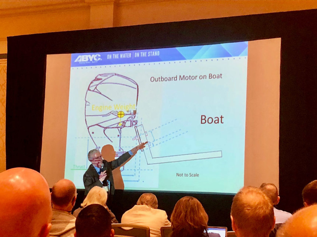 Expert witness Bob Taylor shows how he poked holes in a plaintiff's testimony during a trial against a boatbuilder
