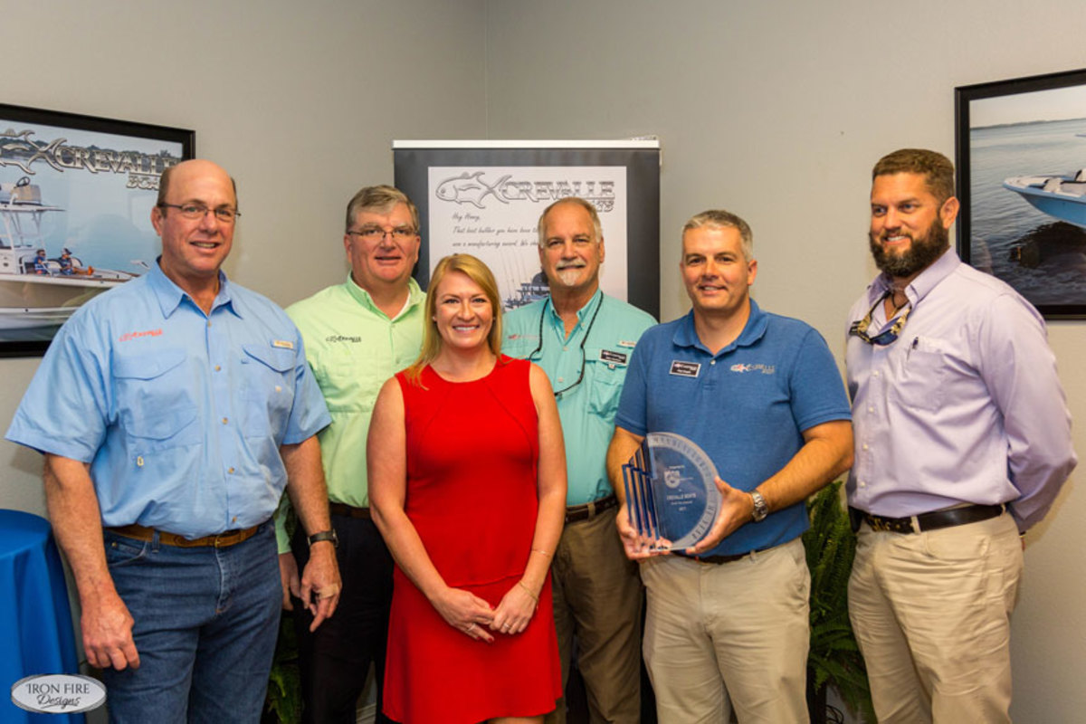 L-R Winston Bailey (owner), Hugh Dailey (owner), Freya Olsen (senior program Manager, Discover Boating), Michael Hankins (operations manager), Nick Engles (president) and Chad Jaros (director of sales and marketing).
