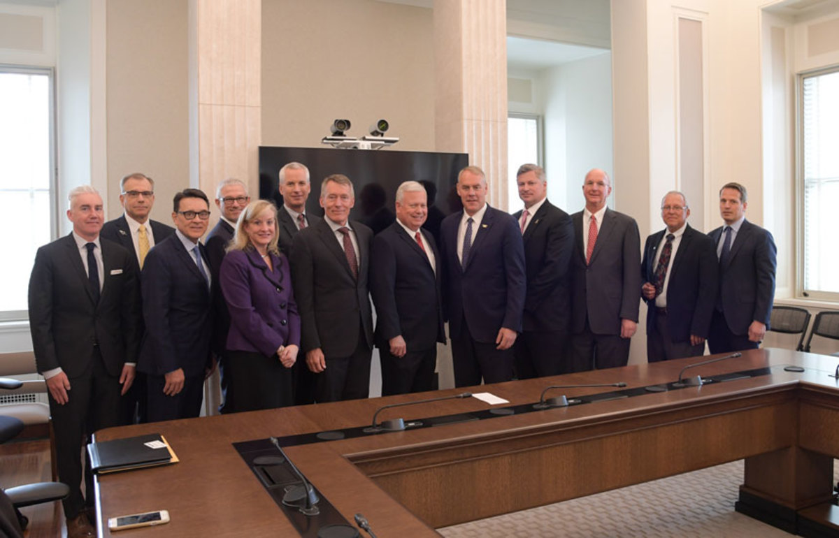 The Outdoor Recreational Roundtable made its formal launch last week with Department of the Interior Secretary Ryan Zinke (fifth from the right), members of the recreational marine industry, and bipartisan members of Congress.