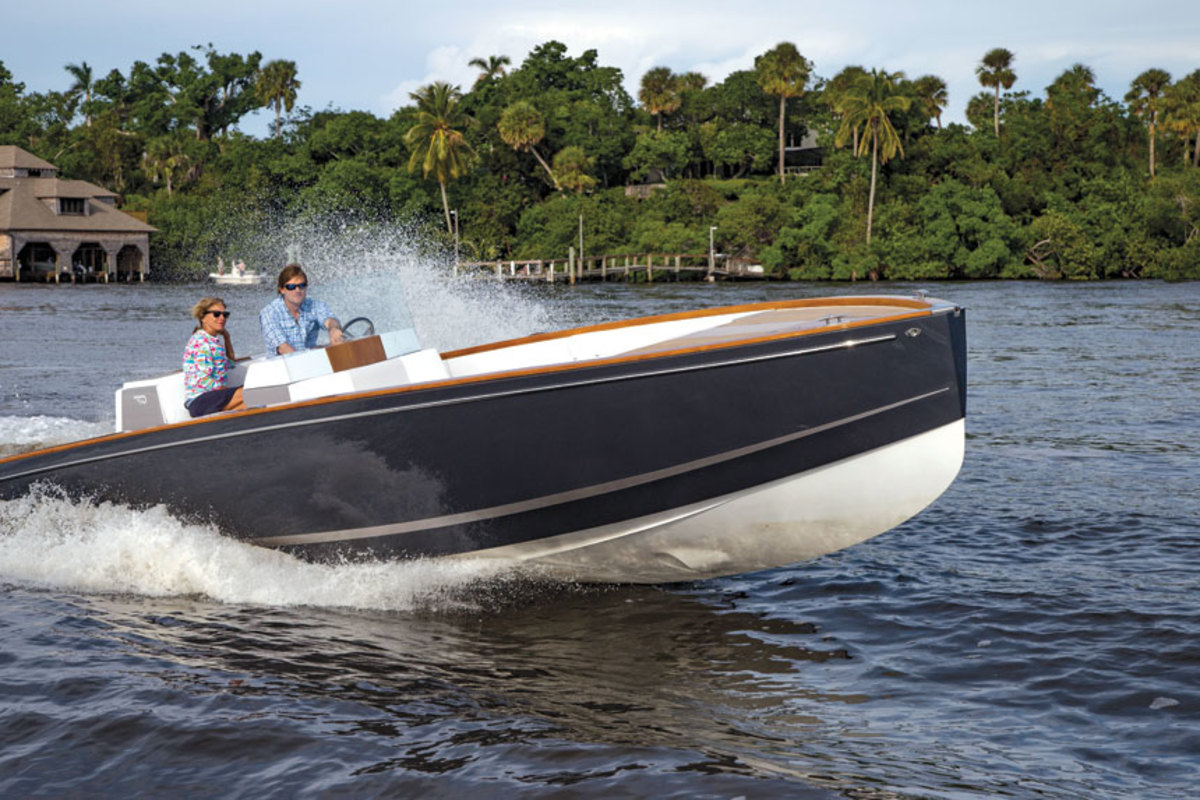 Bryant puts Hinckley's first electric-powered boat, Dasher, through its paces.