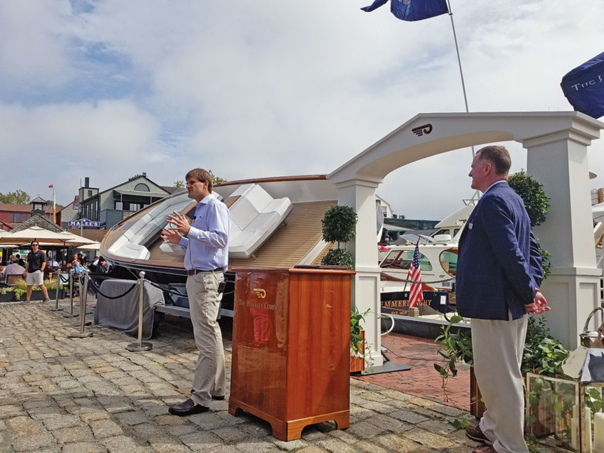 Bryant presents Dasher to the public for the first time at last fall's Newport Boat Show.