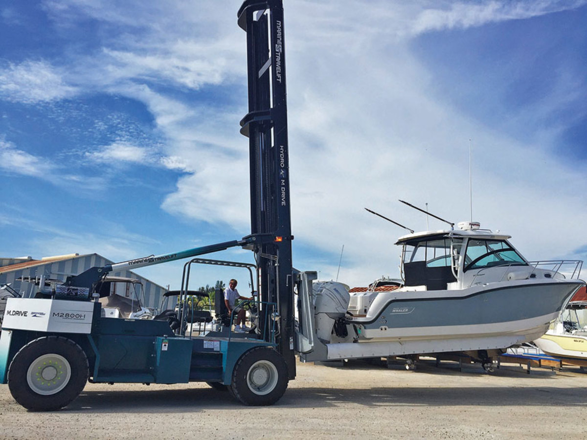 Marine Travelift also makes fork lifts for moving boats. Shown mere is the  model M2800H.