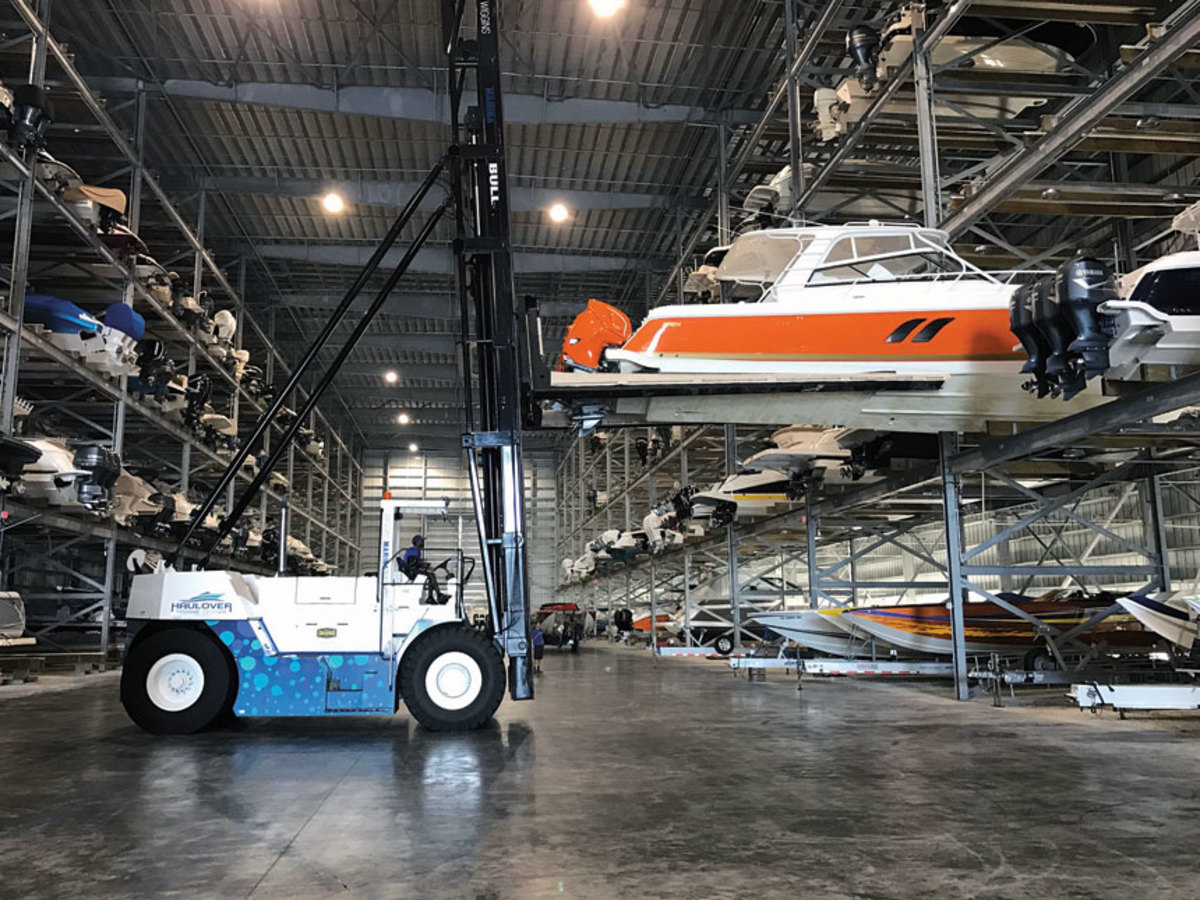 The new buildings and forklifts at Haulover Marine Center are designed to accommodate larger outboard-powered boats that continue to gain popularity.
