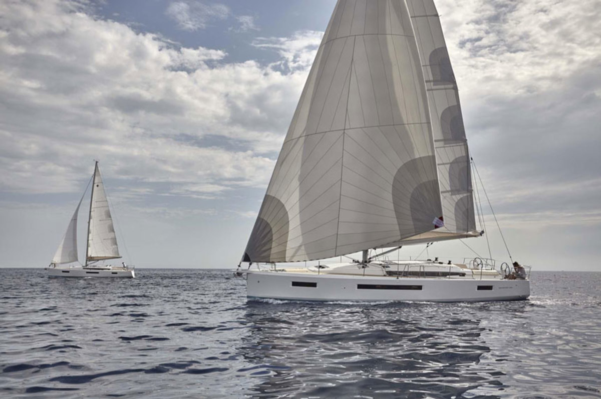 Sales of exported sailboats, such as this Jeanneau Sun Odyssey 490, grew as domestic sales dropped.
