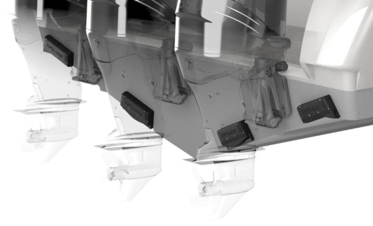 Zipwake deflectors take up far less space than traditional trim tabs on a boat's transom.
