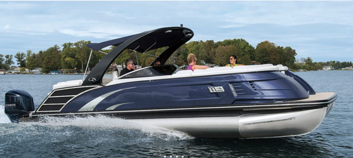 Bennington is one of four boat brands sold to Polaris Industries as part of Boat Holdings. Shown here is Bennington's QX27 10-foot Wide-Beam Fastback Pontoon.