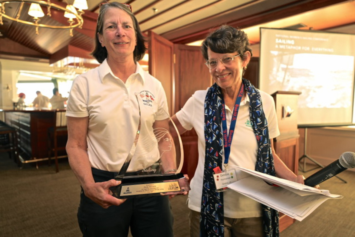 (L to R) Sheila McCurdy, Women's Sailing Award recipient with Debbie Huntsman, Vice President, National Women's Sailing Association (credit: Pam Foley)
