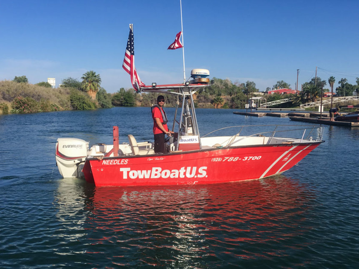 Capt. Justin Wilde aboard one of his company's response boats at TowBoatUS Needles.