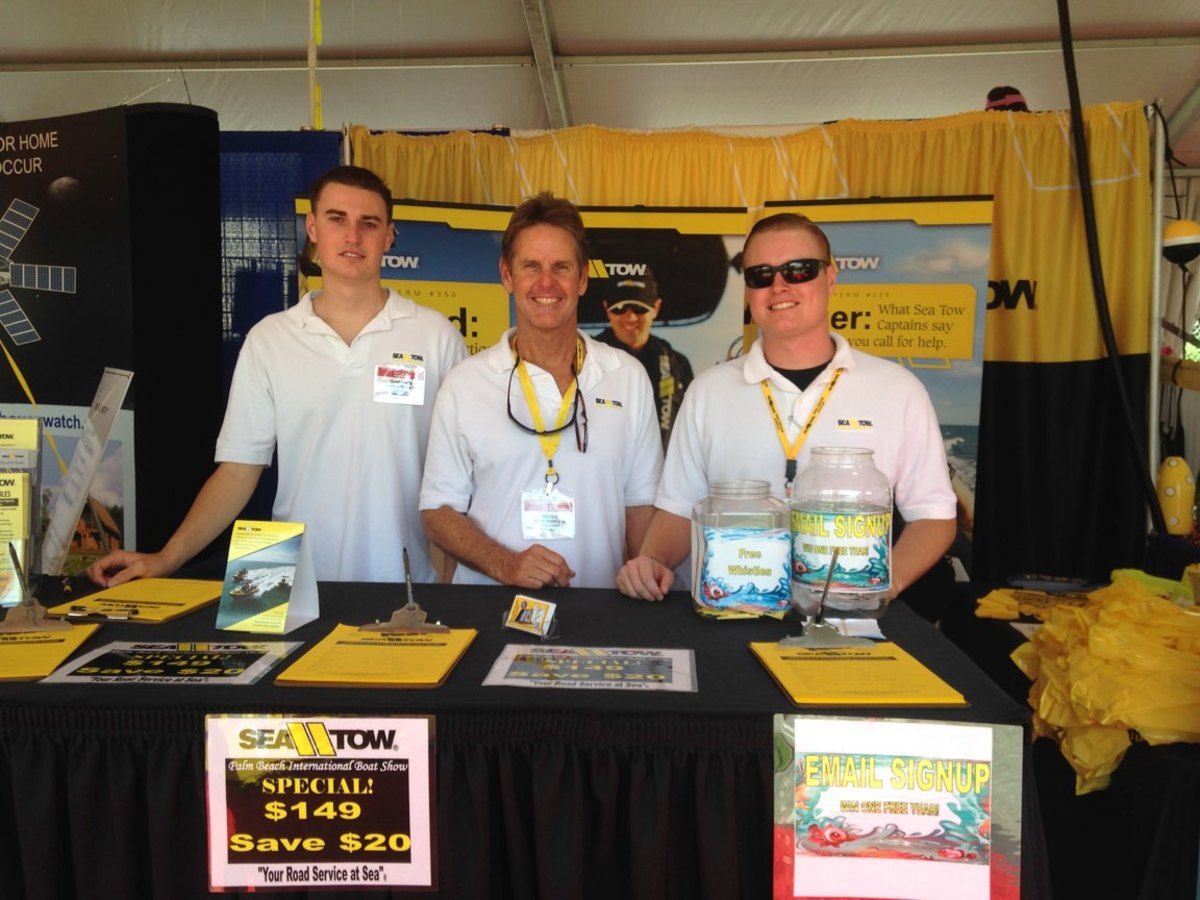 From left, Chandler, Will and Connor Beck at a recent boat show.