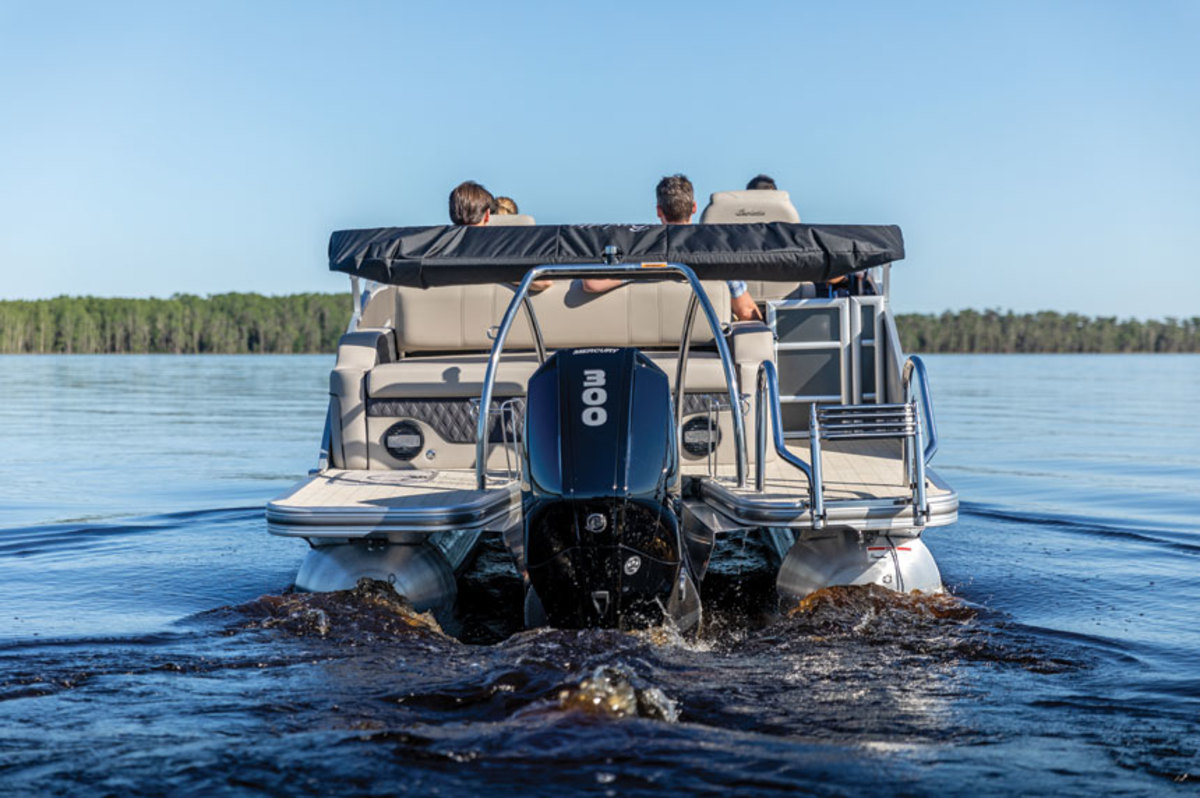 The 300-hp FourStroke has the bottom-end torque to push a large pontoon boat.