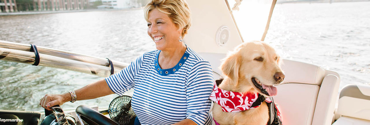 """Lisa Almeida wants to empower women in boating with the """"Boatanista"""" clothing line."""