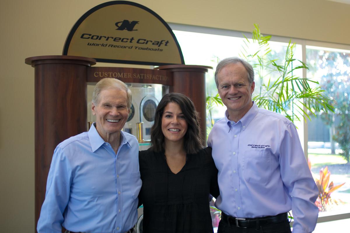 Sen. Bill Nelson, NMMA senior vice president Nicole Vasilaros, and Correct Craft president Bill Yeargin.