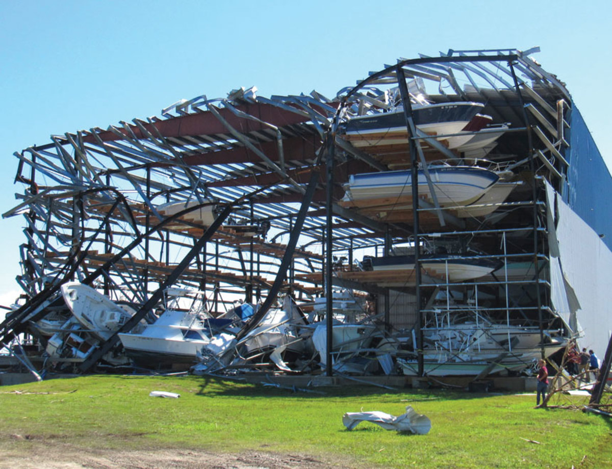 Hard-hit Cove Harbor Marina & Drystack in Rockport, Texas, was still rebuilding docks and storage facilities in late June.
