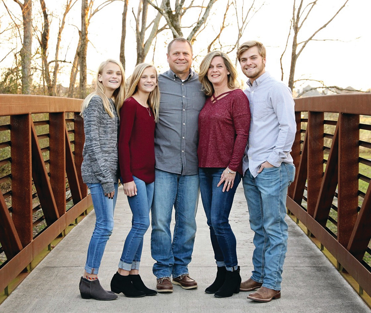 The Johnson family (from left): Camryn, Kendall, Eric, Douglass and Tyler.