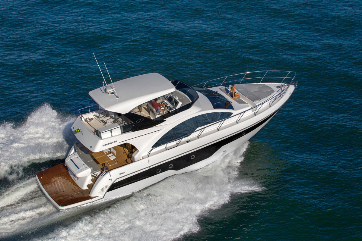 The Schaefer 580 is powered by twin Volvo Penta IPS800s.