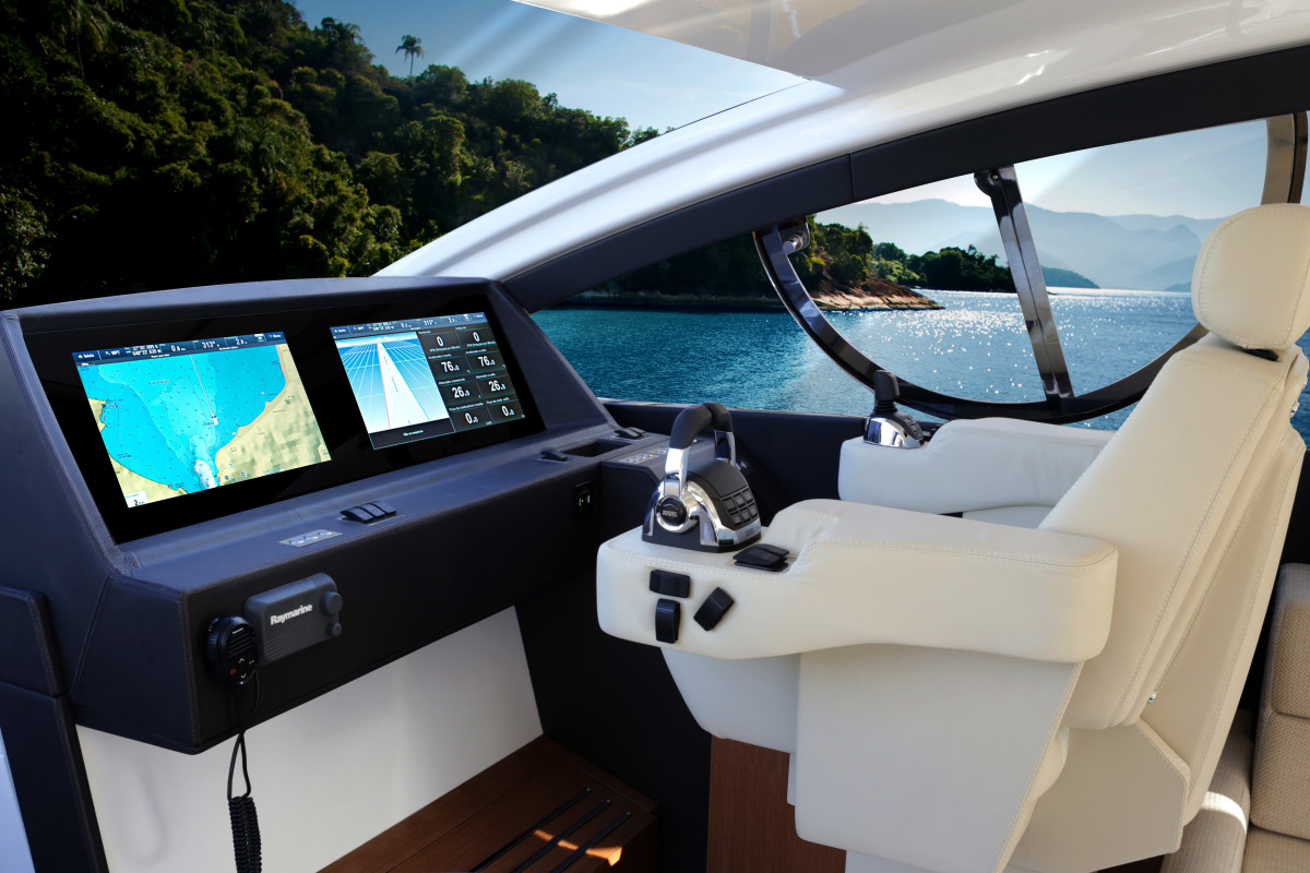 The boat is controlled exclusively by a joystick.