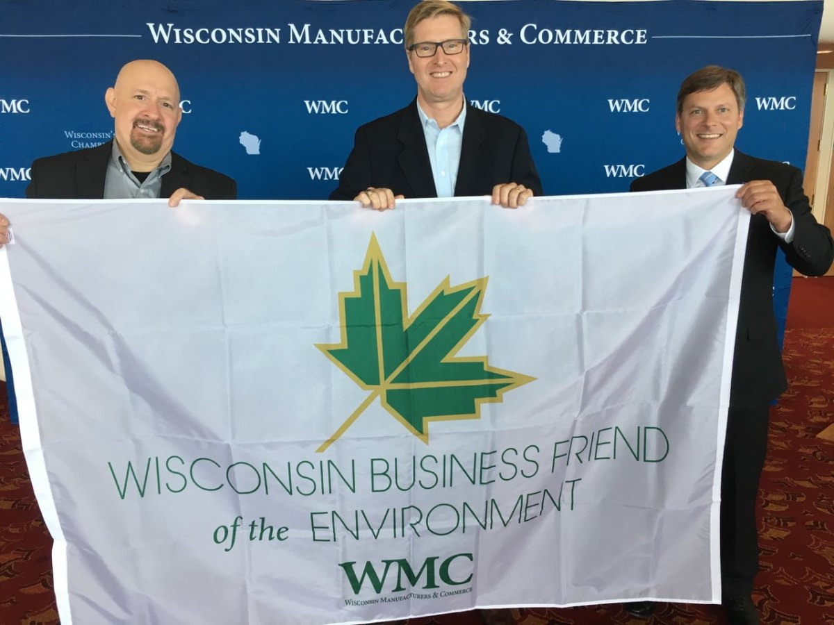 (L-R) David Maus-Berkley, Mercury Communications Manager, Scott Louks, Mercury, sustainability and facilities project management manager and Kurt Bauer, president of Wisconsin Manufacturing and Commerce.