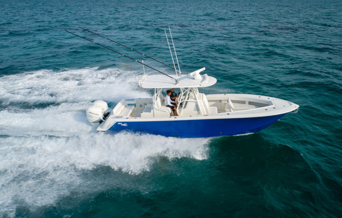 The new 322Z rides on a stepped hull designed to create a fixed running angle.