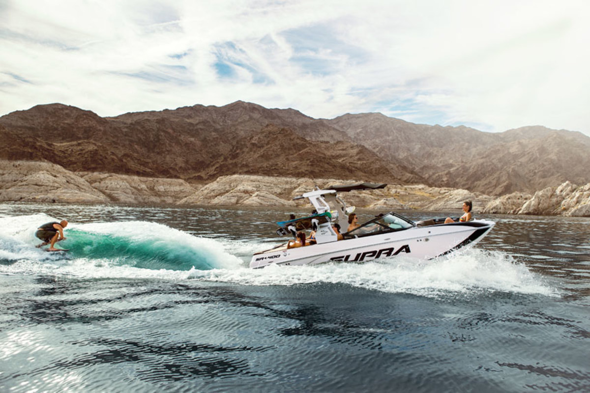 Like all wake-sports boats, this Supra is designed to serve up a variety of wave heights and shapes.