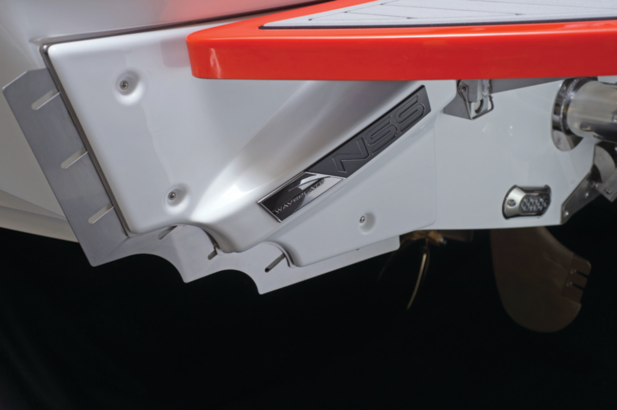 The Nautique Surf System uses interceptors mounted on the transom plus ballast to manipulate wake size and shape.