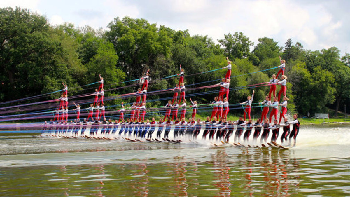 The 80-person water-ski pyramid attempts to set a record for the Guinness Book of World Records.