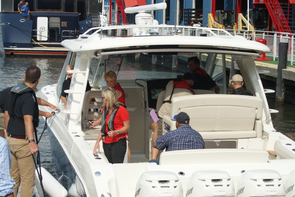 Media members took a ride on a Boston Whaler Realm powered by quad Mercury 350-hp Verados.