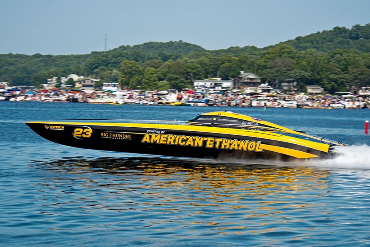 The 51-foot Mystic catamaran, American Ethanol, once again took top speed honors at the 2018 LOTO Shootout, running 204 mph in its final pass.