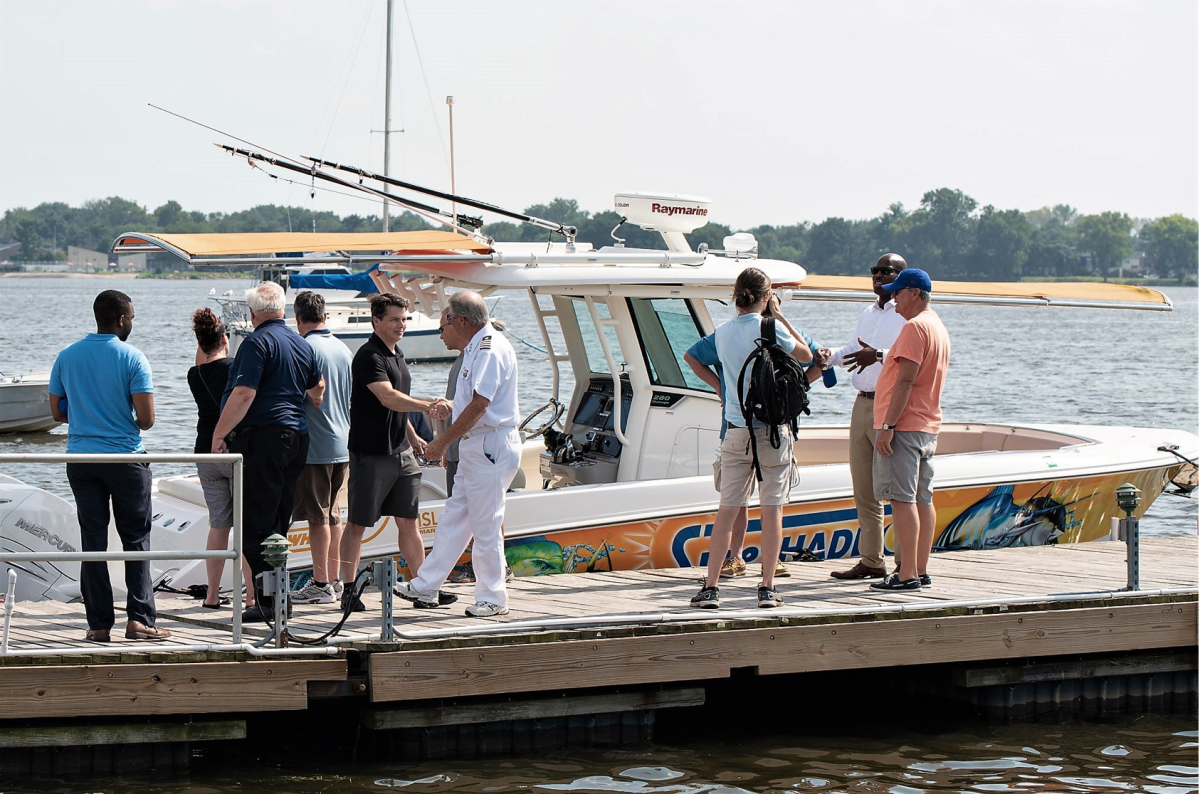 SureShade and NMMA host elected officials for Shady Lady demo boat ride on the Delaware River. Photo by Jaime Ostergard.
