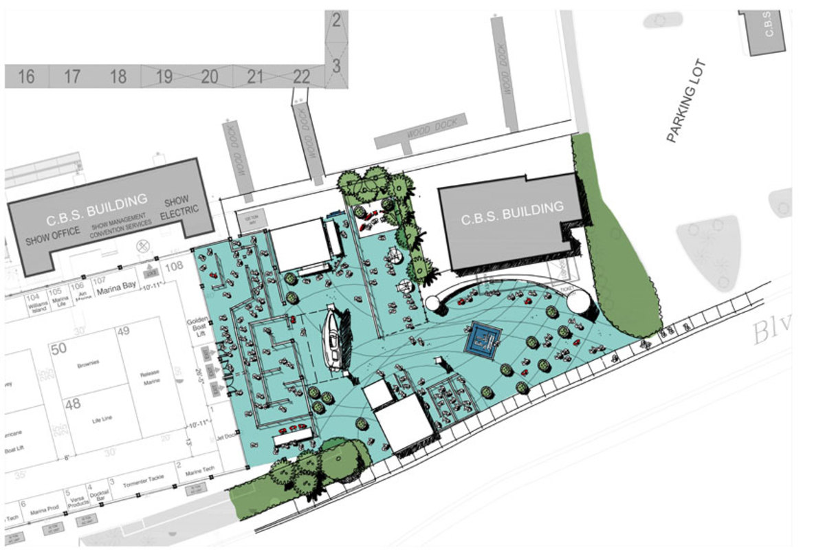 The show's new plaza is designed to provide easier access for exhibitors and attendees than the previous entrance.