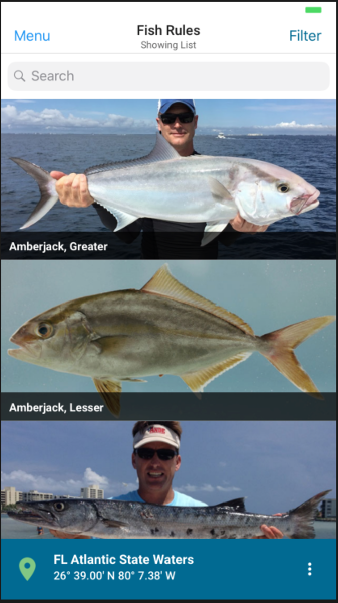 The Fish Rules app provides recreational saltwater regulations for state and federal waters.