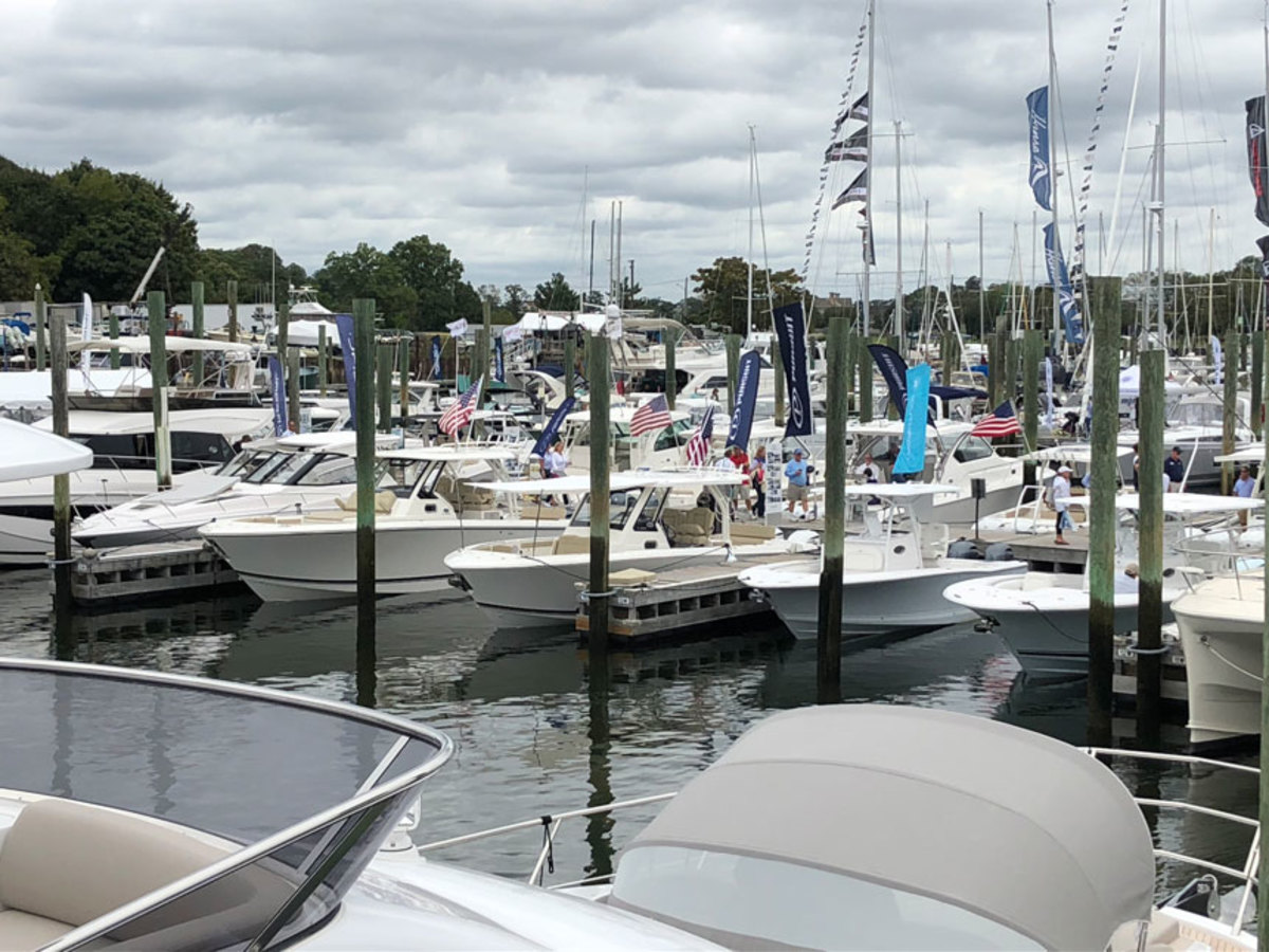 The Norwalk show from the flybridge of Azimut's 66-foot Magellano.