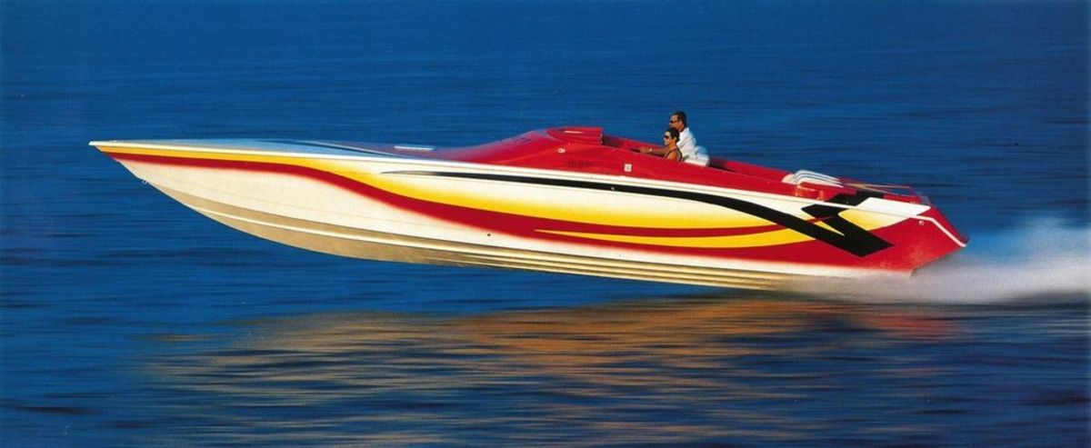 With their pad-bottom design, Velocity powerboats are among the fastest non-stepped offshore performance boats.