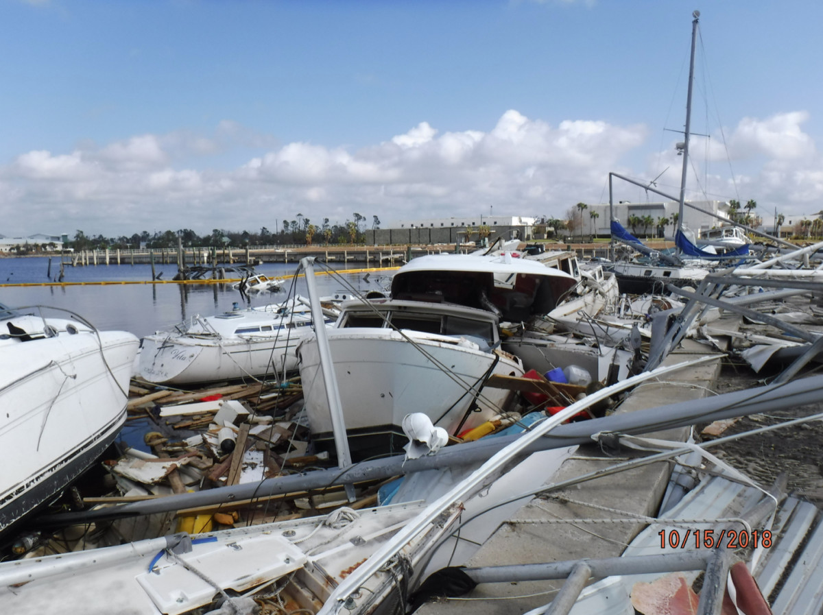 BoatUS is in some of the hardest hits areas of Florida salvaging and scrapping boats. Photos by Steve Mason with BoatUS.