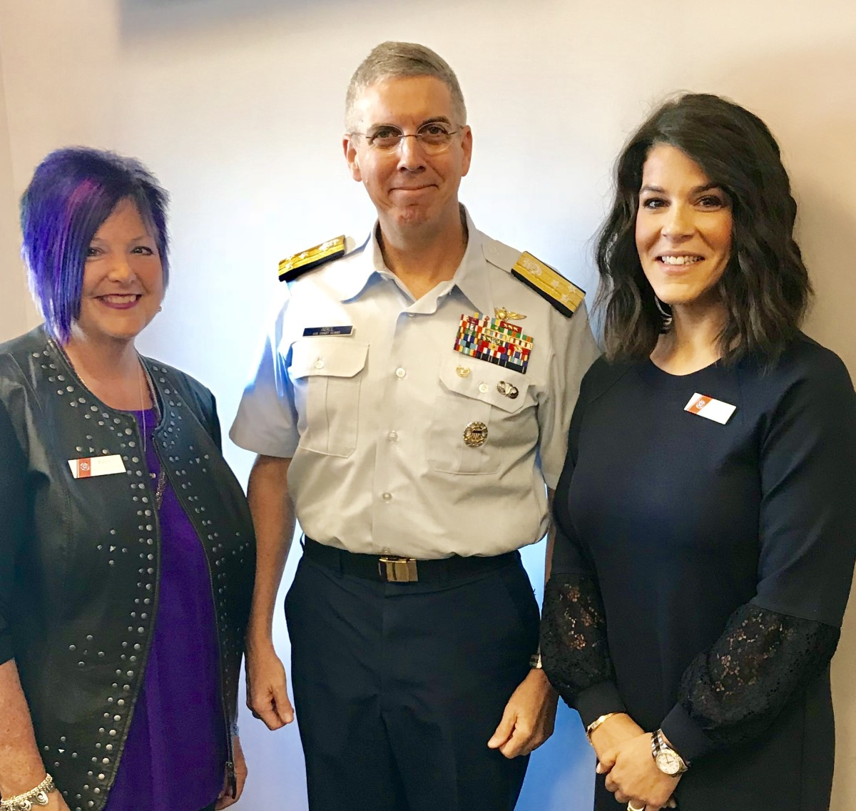 Nicole Vasilaros (right) with Coast Guard Vice Adm. Dan Abel and Wanda Kenton Smith, a member of the National Boating Safety Advisory Council.
