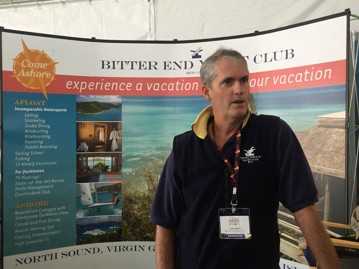John Glynn, sales and marketing vice president at the Bitter End Yacht Club and Resort, said he appreciates Newport show visitors inquiring about the club, but makes every effort to shift the conversation back to the overwhelming human suffering on Virgin Gorda.