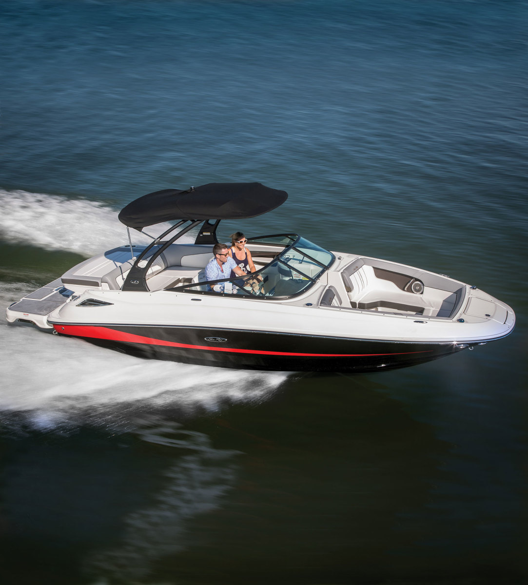 Simrad chart plotters will be offered as the optional navigation packages on all 2018 Sea Ray SPX, SDX and Sundancer series models. The Sea Ray SDX 240 is shown.