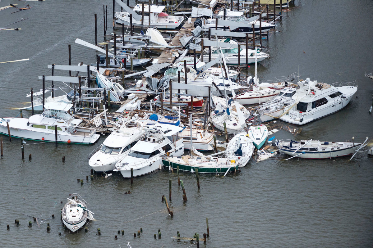 This aerial view shows damage Hurricane Harvey caused at a marina in Rockport, Texas