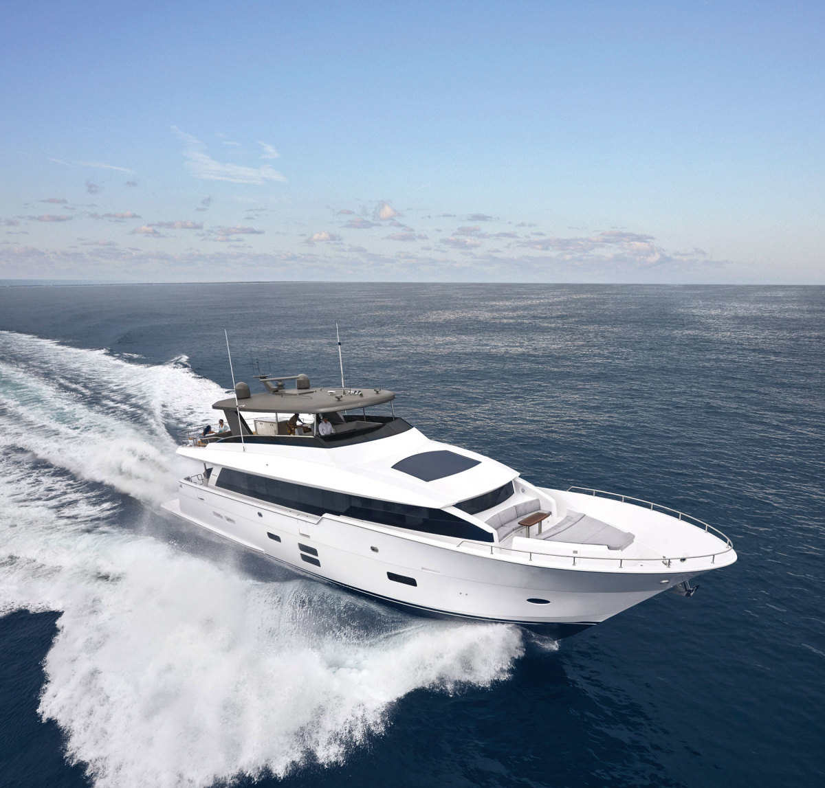 The M90 Panacera, the pride of the Hatteras fleet, makes its official world debut at the Fort Lauderdale show in November.