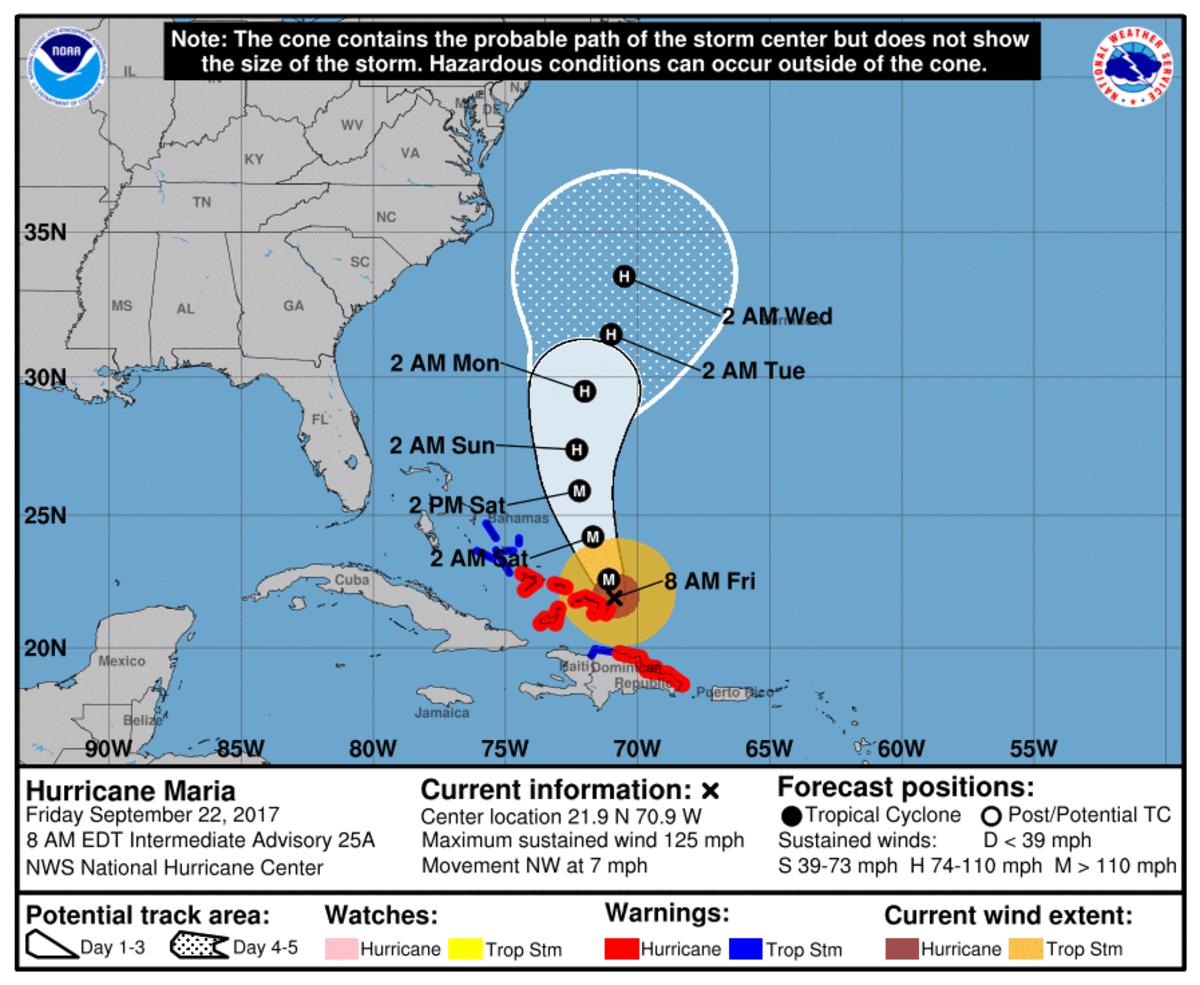Map of path of Hurricane Maria